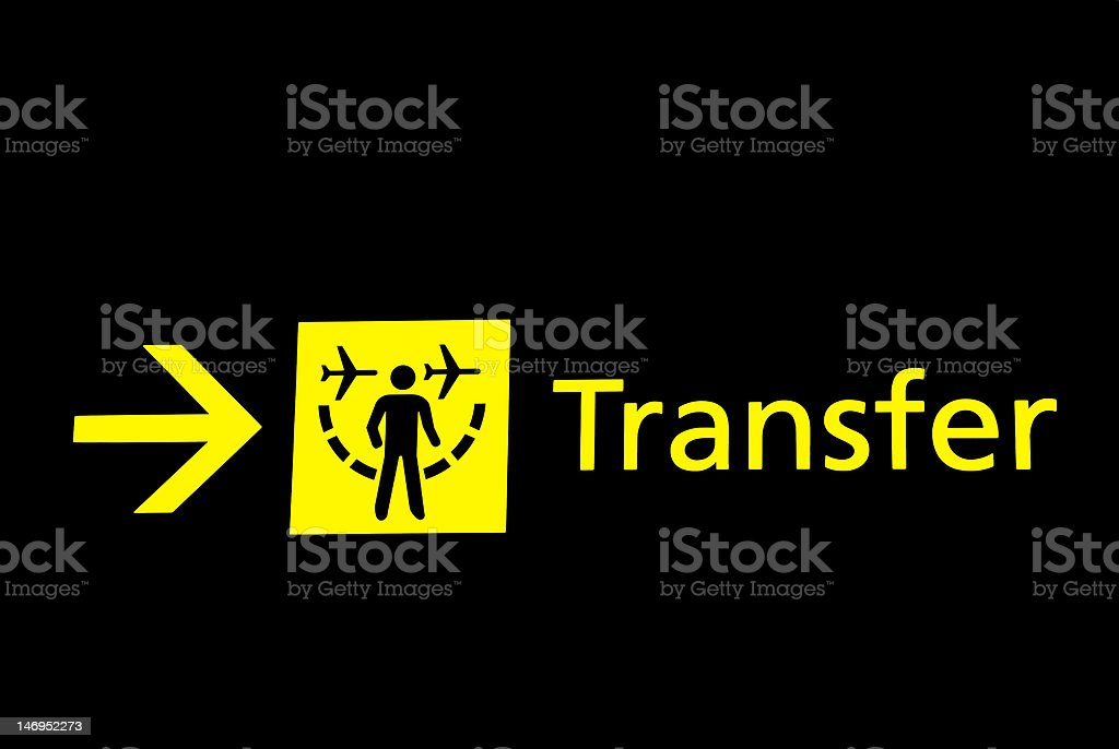 Airport signs - transfer royalty-free stock photo