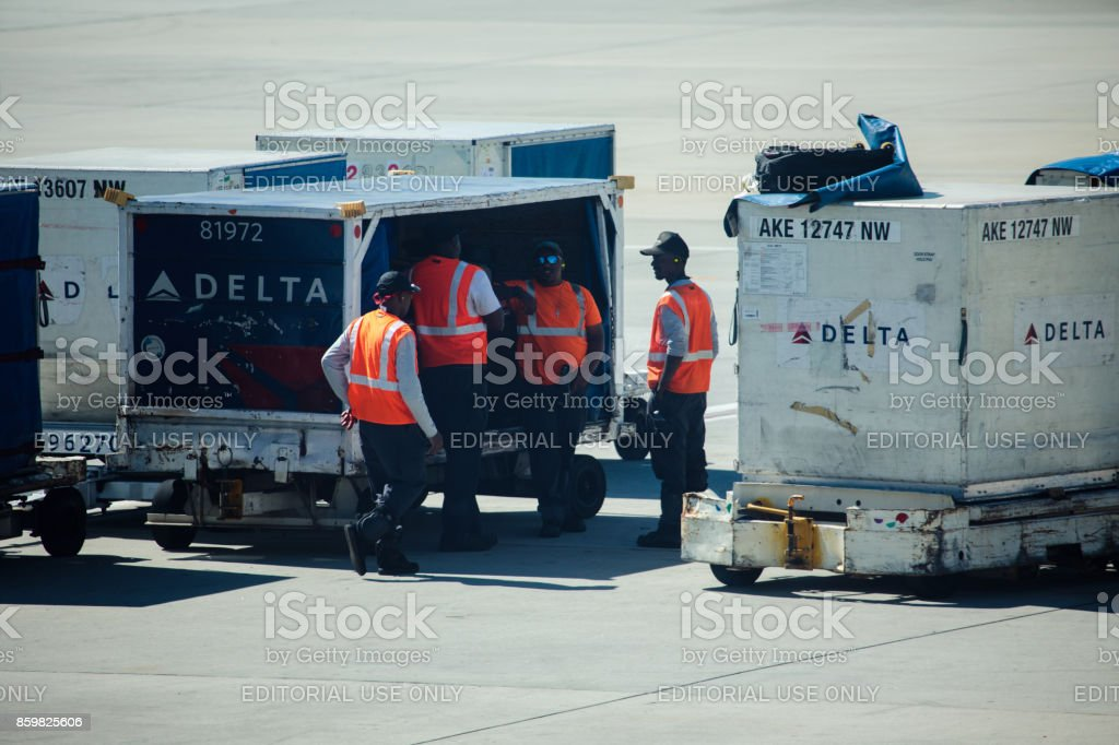 Airport staff at the Hartsfield-Jackson Airport stock photo