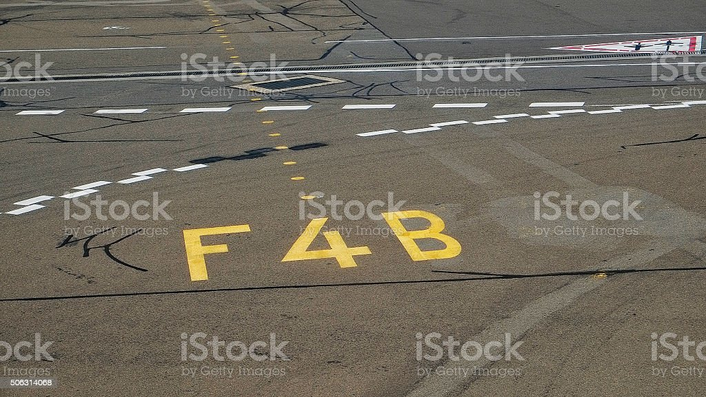 Airport Tarmac Markings Stock Photo - Download Image Now