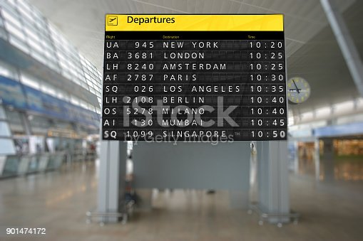 istock Airport terminal arrival departure timetable flight 901474172