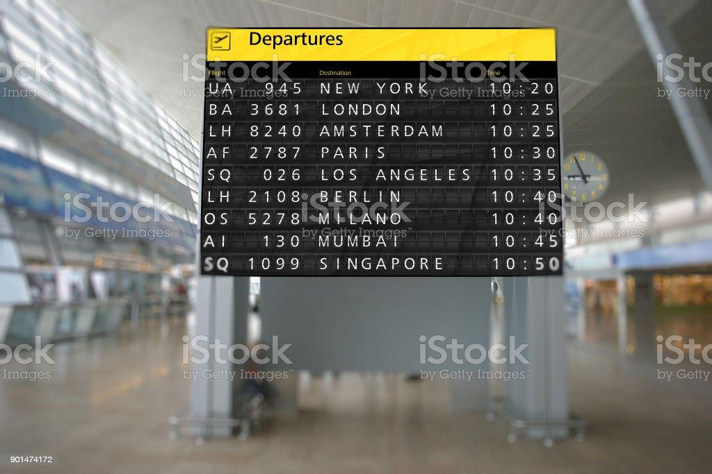 Airport terminal arrival departure timetable flight stock photo