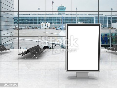 istock Airport terminal billboard advertisement 1090346590