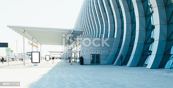 istock airport terminal building gate entrance and automatic glass door 953071218
