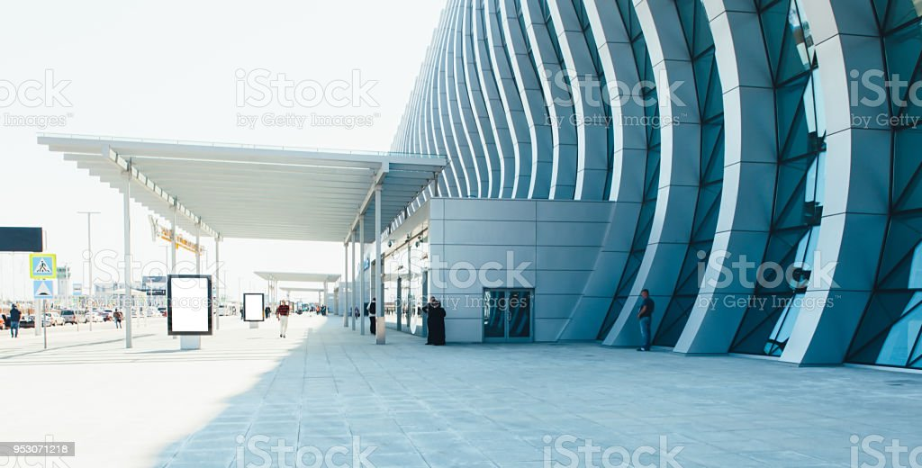 airport terminal building gate entrance and automatic glass door stock photo