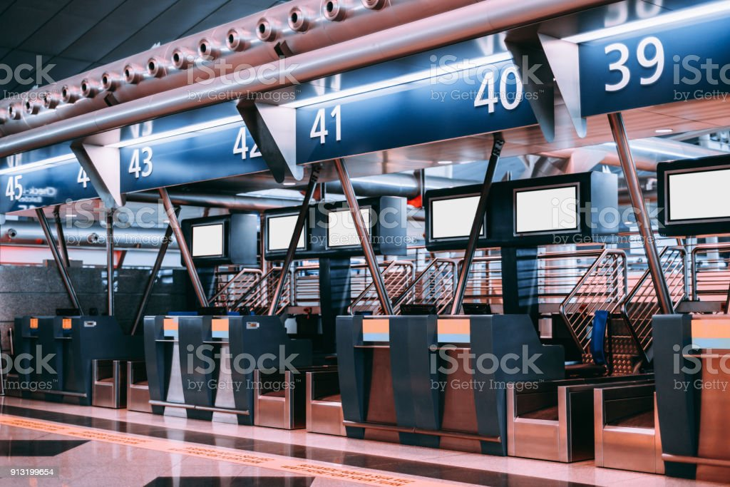 Airport terminal check-in area stock photo