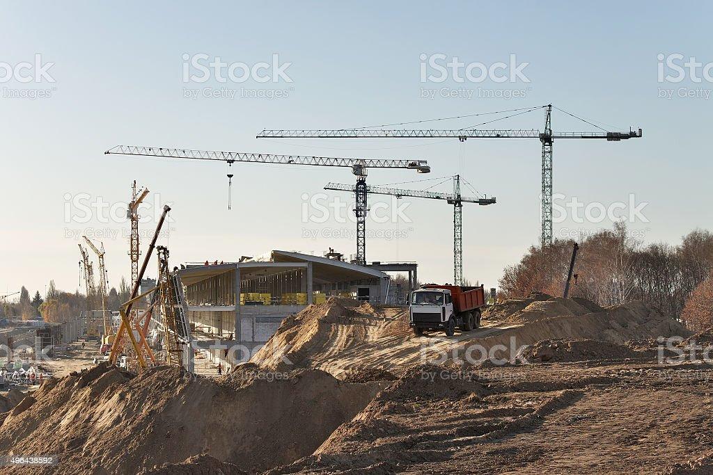 Airport terminal construction stock photo