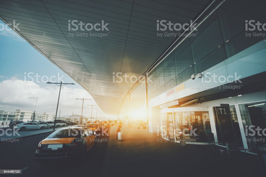 Airport terminal entrance stock photo