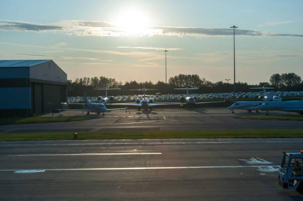 Airport terminal lane stock photo