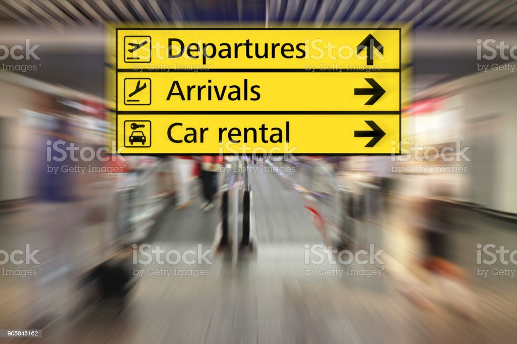 Airport terminal lounge interior timetable information sign stock photo
