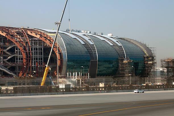 Airport terminal under construction at Dubai International stock photo