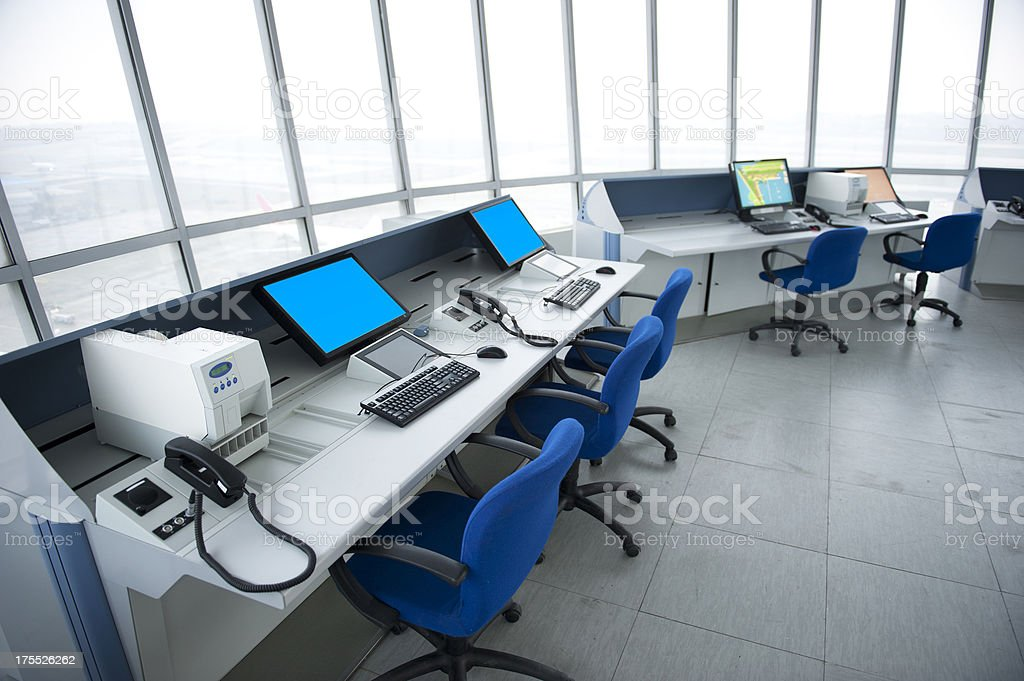 Airport Tower, Interior View royalty-free stock photo