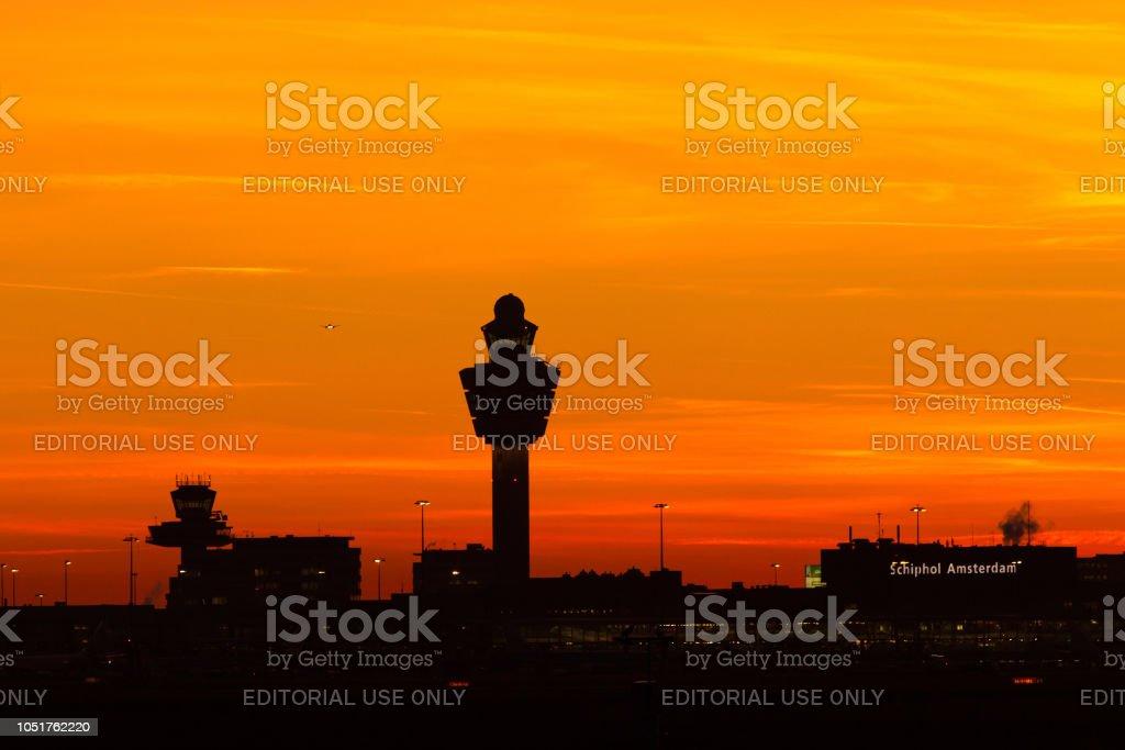 Airport tower sunset stock photo
