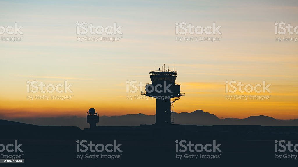Airport traffic controller tower stock photo