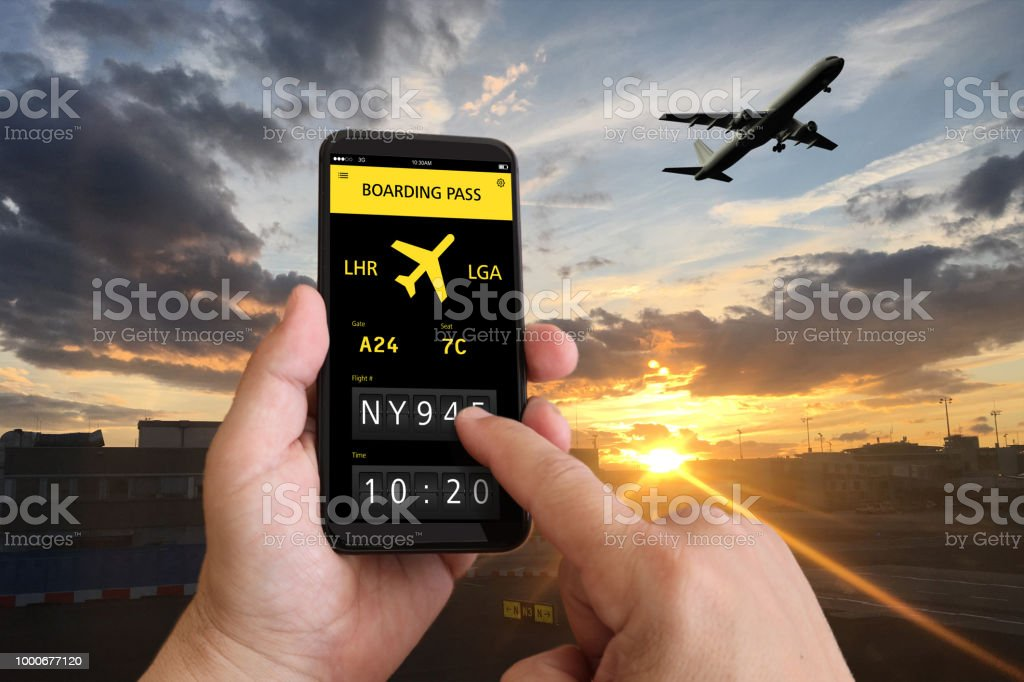 Airport Travel Airplane Ticket Flight Mobile Phone App Stock