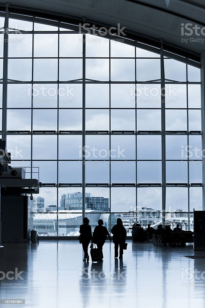 Airport travellers and luggage on the move royalty-free stock photo