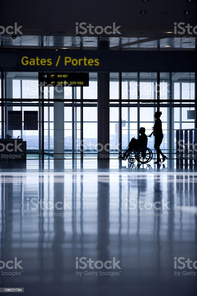 Airport travellers on the move royalty-free stock photo