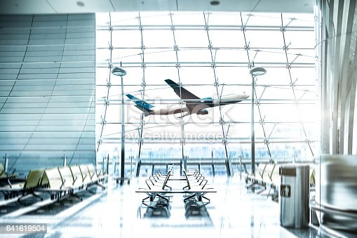 istock Airport waiting Lounge and airplane take off and landing 641619504