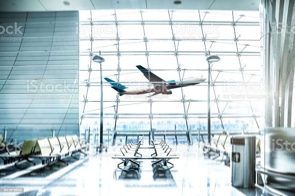 Airport waiting Lounge and airplane take off and landing stock photo
