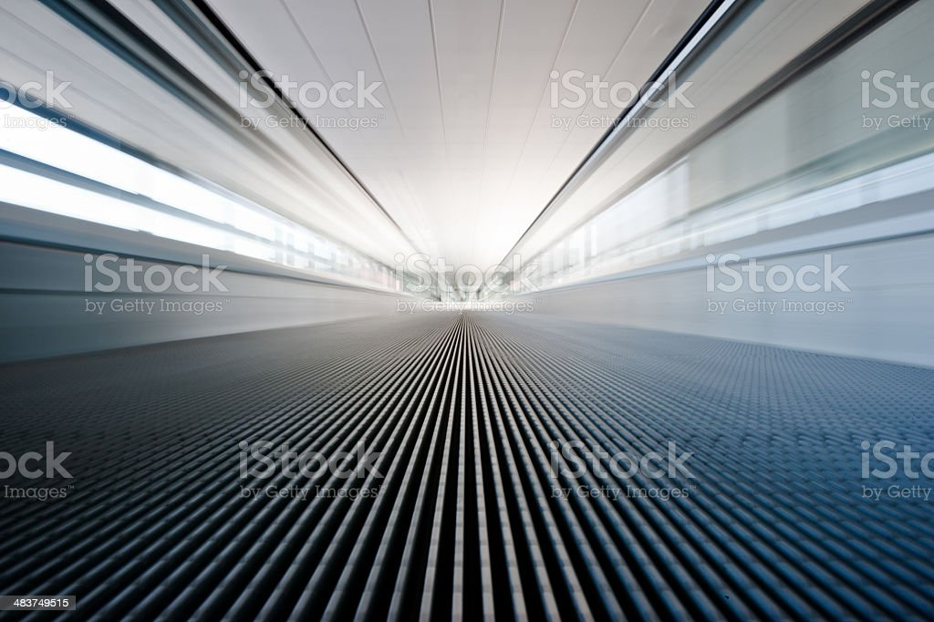 Airport Walkway Moving Stairway (Motion, Zoom Effect) stock photo