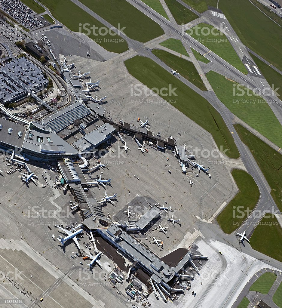 Airport wit terminals stock photo