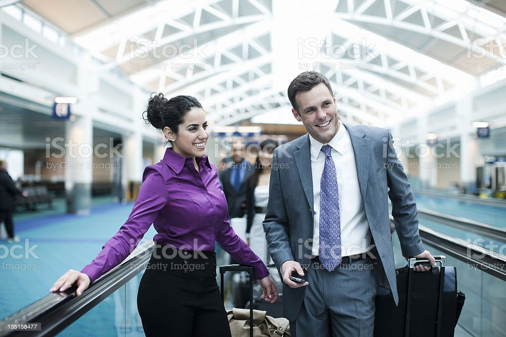 Airport with Coworkers Traveling on Business, Copy Space royalty-free stock photo