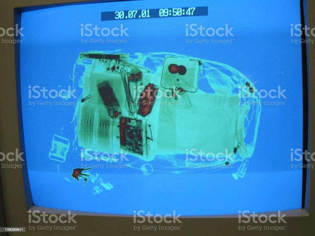 Airport X-ray Monitor royalty-free stock photo
