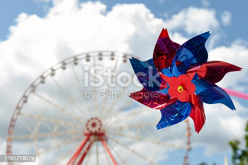 airscrew propeller with amusement park background. vocations and pleasure concepts. party time.