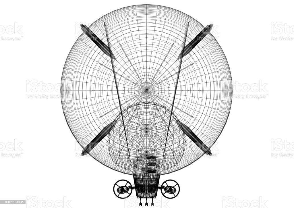 Luftschiff Design Architekt Blueprint - isoliert – Foto