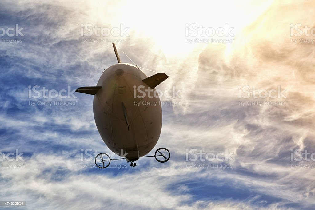 airship in the sky stock photo