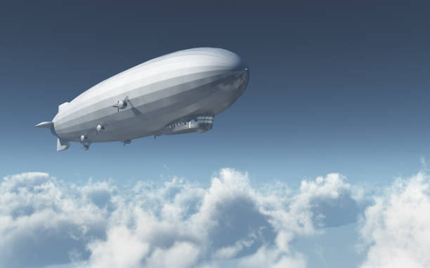 Airship over the clouds stock photo