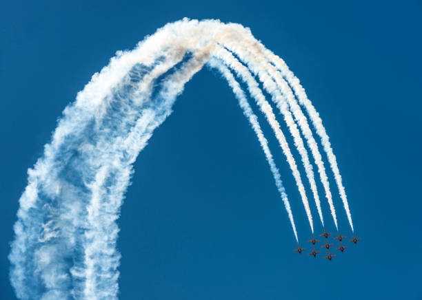 airshow jet loop - airshow stock photos and pictures