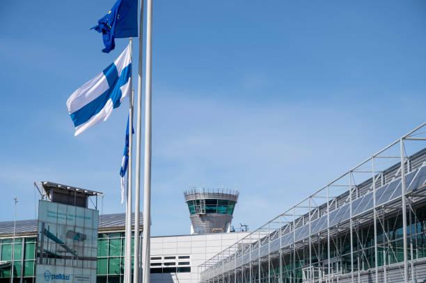 Airside operations at Helsinki-Vantaa airport have been decreased sharply since the coronavirus pandemic began. stock photo