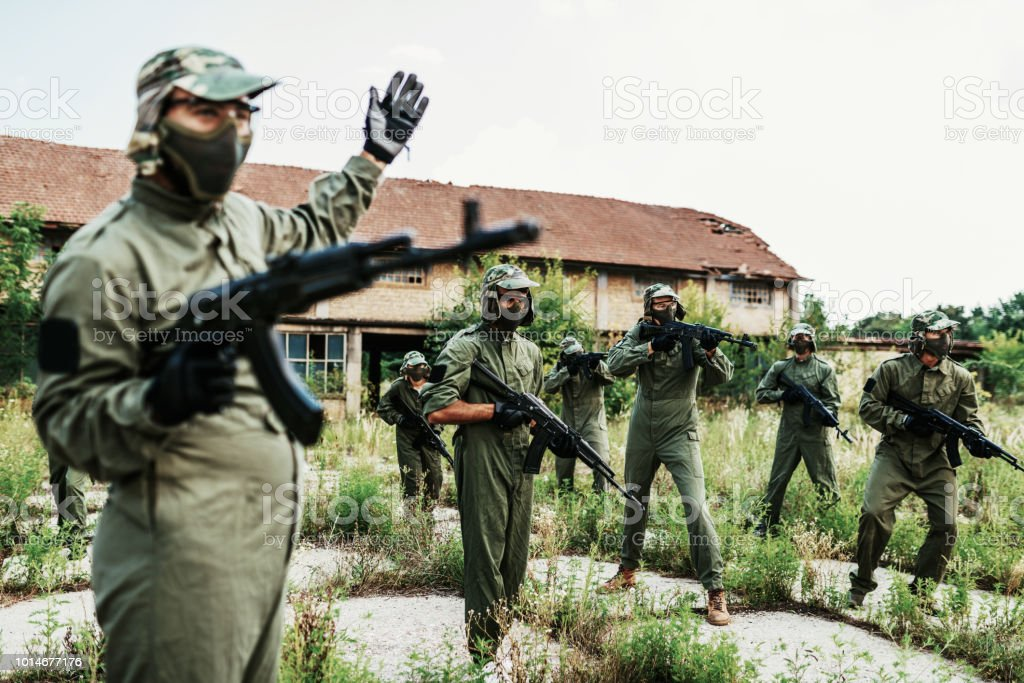 Airsoft game for team-building stock photo