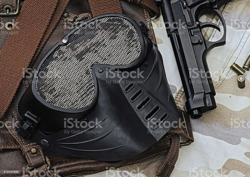 Airsoft mask, Metal Mesh Shooting Face Mask. stock photo