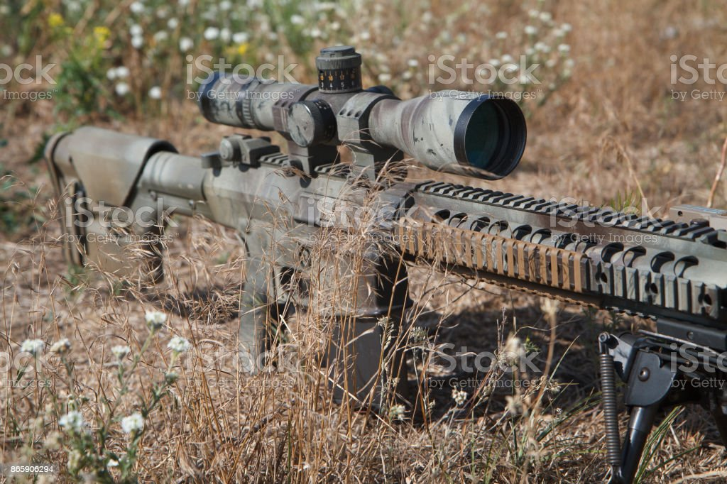Airsoft strikeball sniper rifle stock photo