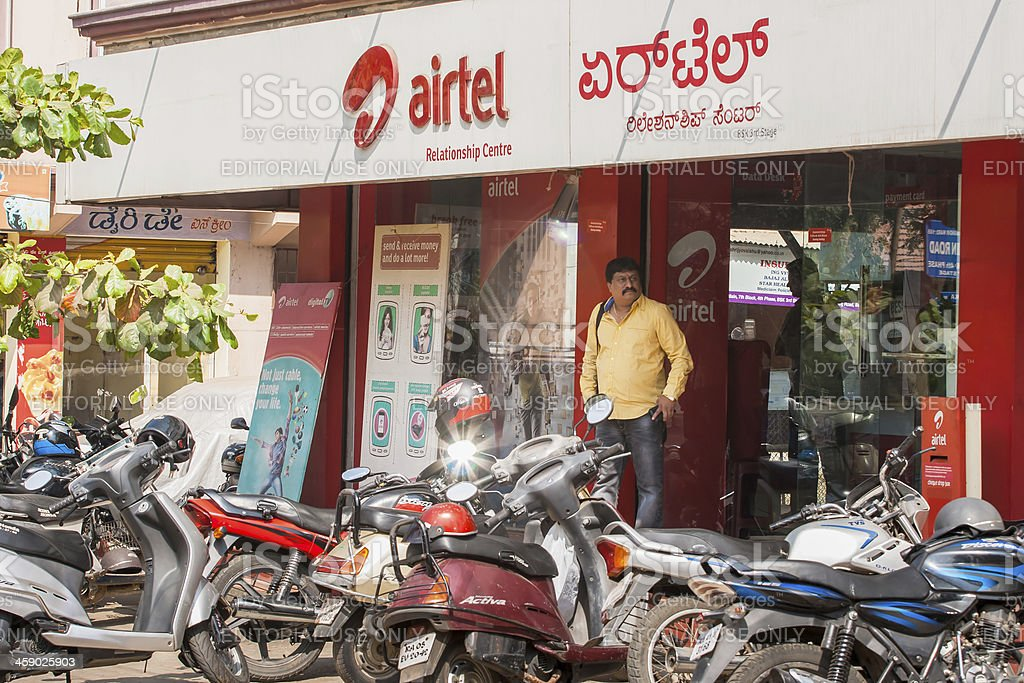 Airtel outlet in Bangalore stock photo