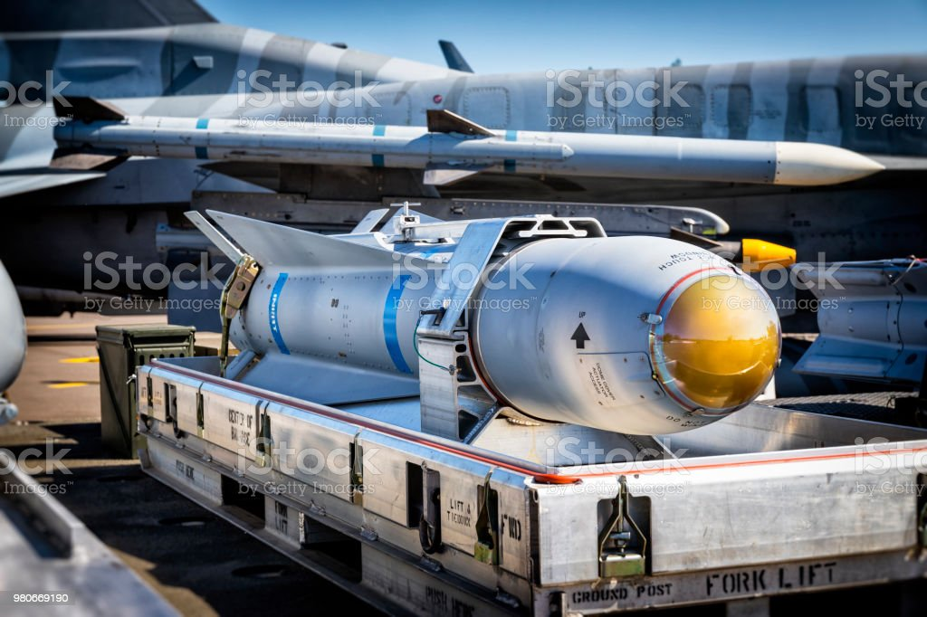 US air-to-surface AGM-65 Maverick missile used by fighter plane  F-16 stock photo
