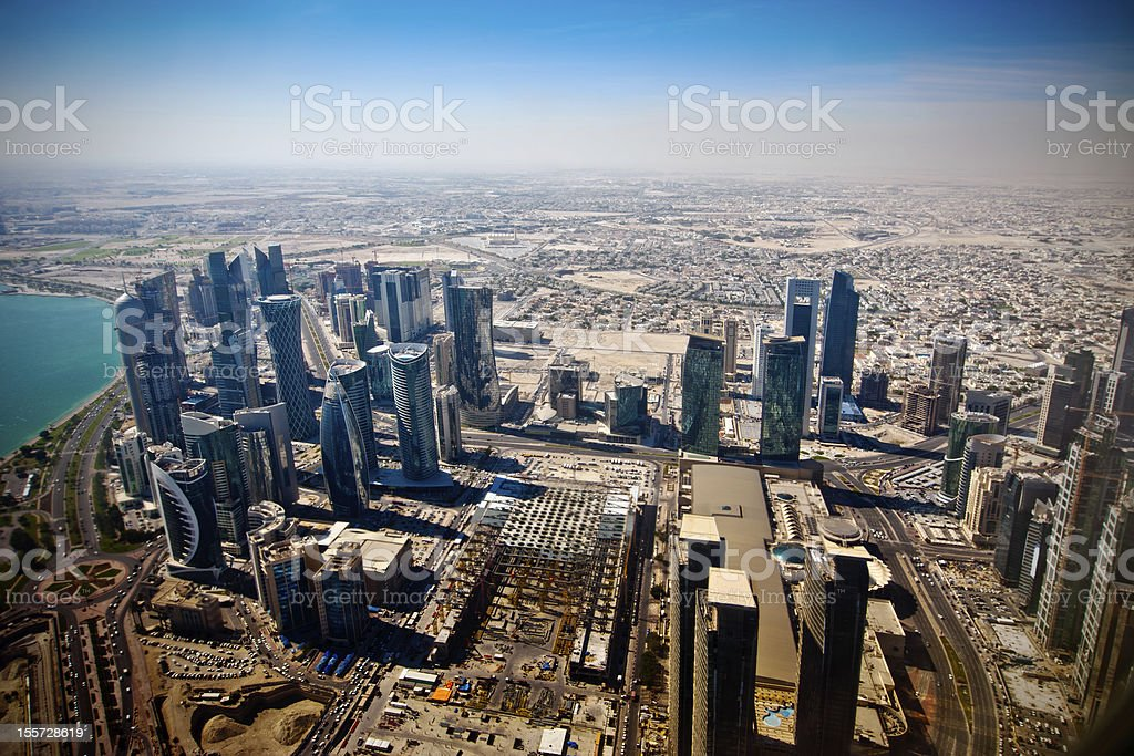 airview on modern Doha stock photo