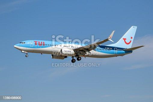 TUI Airways Boeing 737 passenger airplane landing on Frankfurt Airport. Germany - September 11, 2019