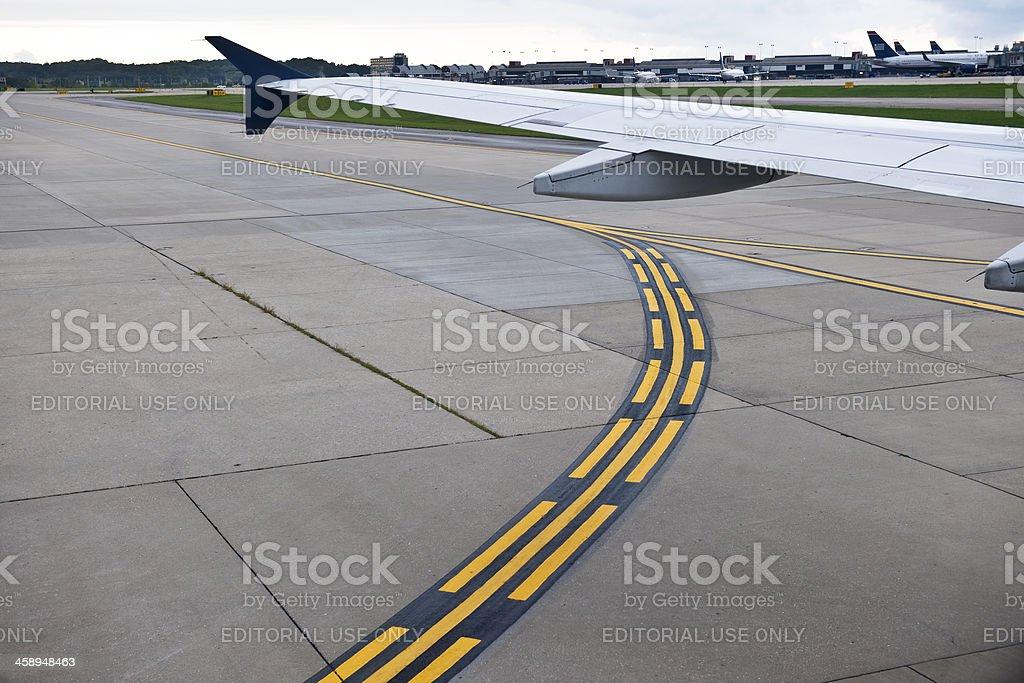 US Airways Plane Wing, Pittsburgh Pennsylvania USA stock photo