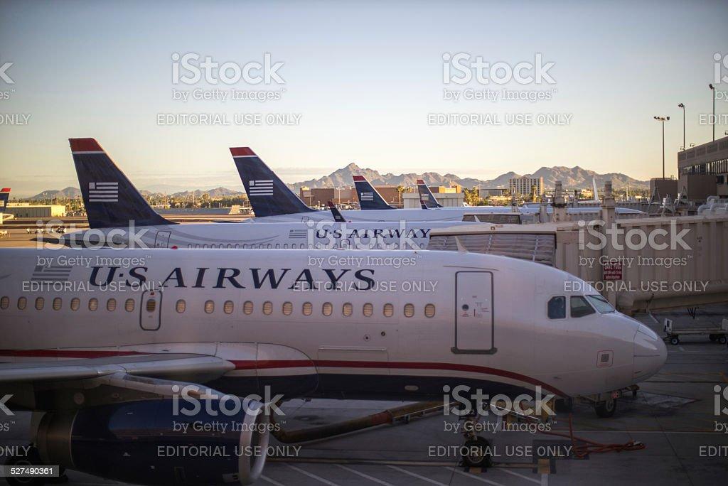 US airways planes at Phoenix airport stock photo