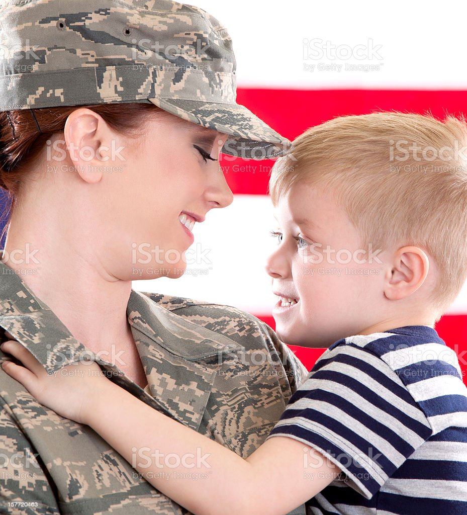 U S Airwoman and Son Smiling stock photo