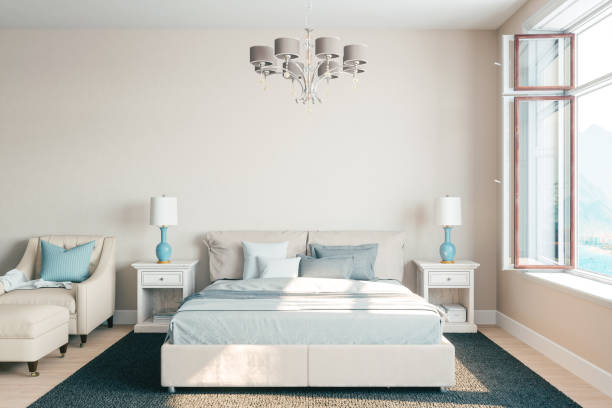 Airy Bedroom Interior With Beautiful View Modern bedroom interior with ocean view. bed furniture stock pictures, royalty-free photos & images