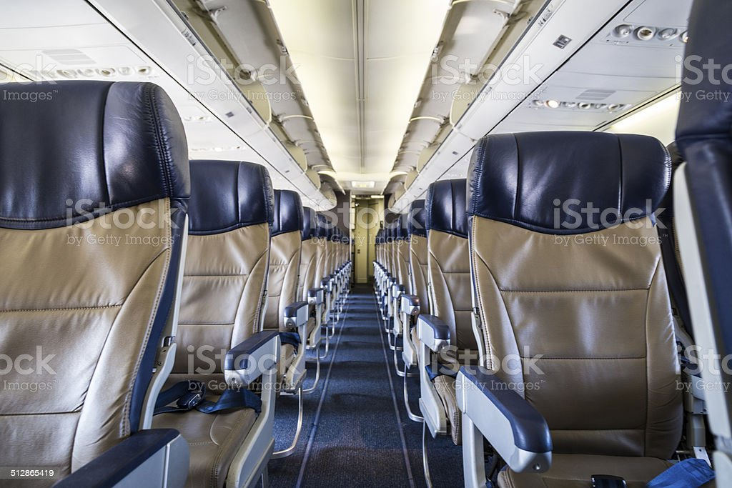 Aisle Seats in an airplane stock photo