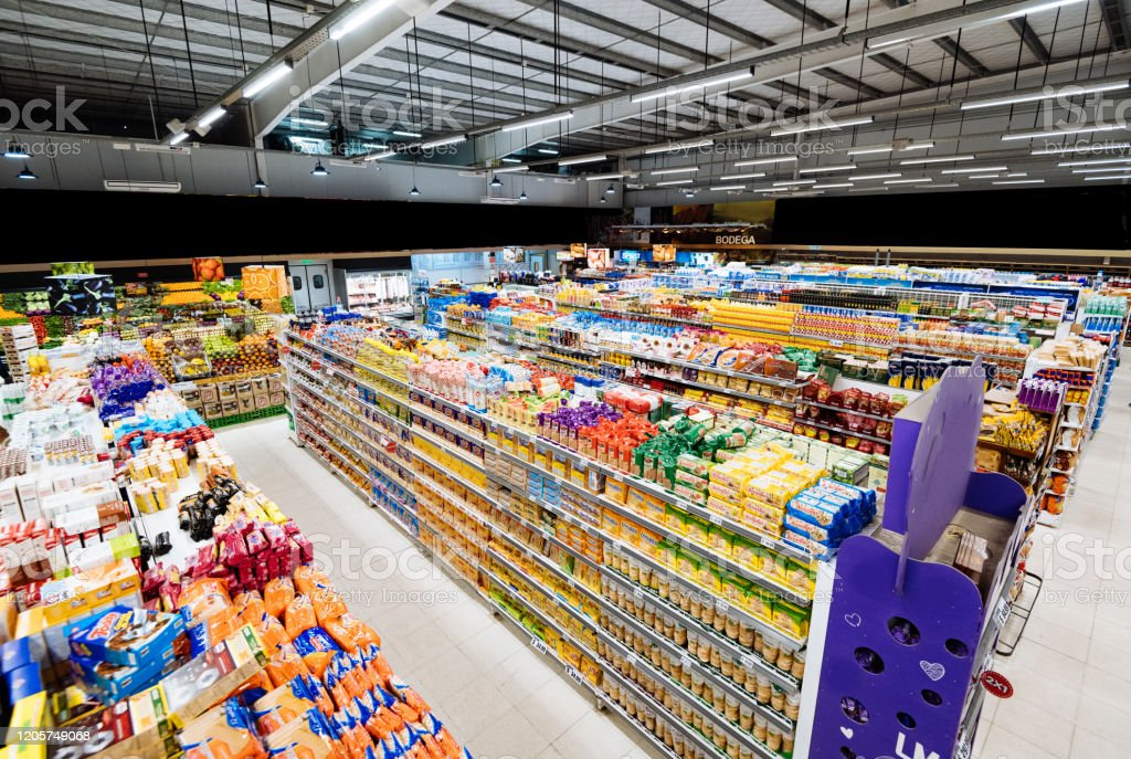 Aisles And Shelves In Supermarket Wide Angle View Stock Photo Download Image Now Istock