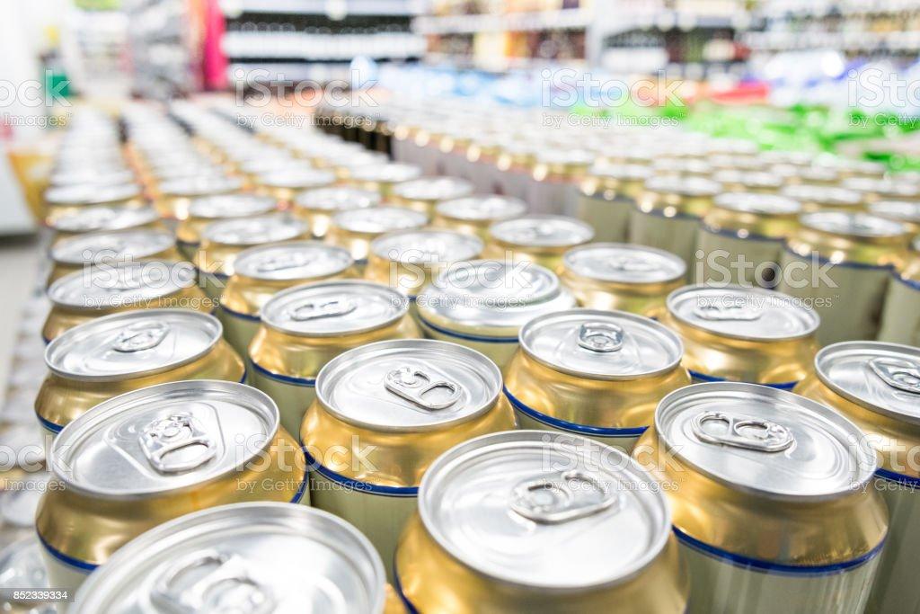 Aisles of shelves in supermarket