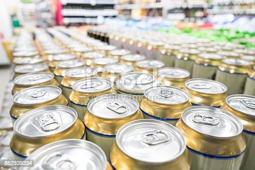 istock Aisles of shelves in supermarket 852339334