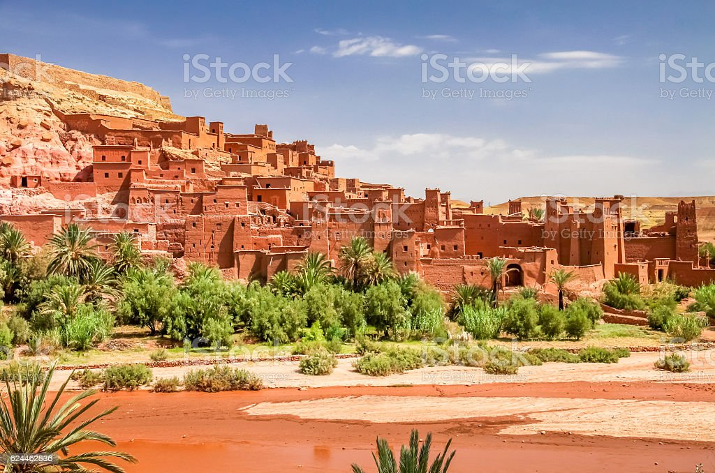 Ait Benhaddou, moroccan ancient fortress stock photo