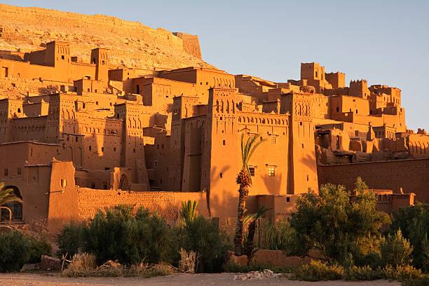 ait benhaddou village in high atlas at sunrise - kasbah bildbanksfoton och bilder