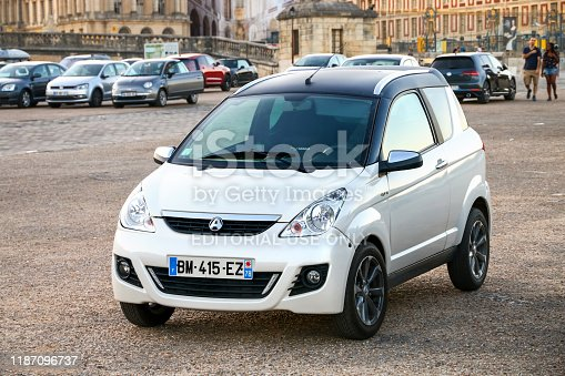 Versailles, France - September 15, 2019: Tiny city car Aixam Crossline in the city street.